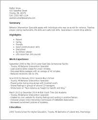 Ex Military Resume Examples by Professional Behavior Intervention Specialist Templates To