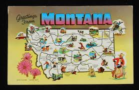 Peyton Colorado Map by 1958 Montana State Map Icons Landmarks Flower Mt Postcard Ebay