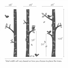 Tree Decal For Nursery Wall by Birch Tree With Owl And Birds Wall Decal