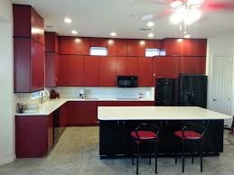 phoenix kitchen remodel red cabinets black island white countertops