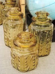 30 off entire shop vintage harvest gold glass canister set 3