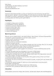 concierge resume samples resume templates airport representative     Cover Letter