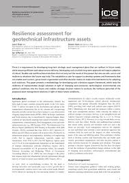 resilience assessment for geotechnical infrastructure assets pdf