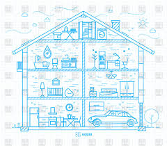 Big House Plans by Big House Plan Or Scheme With Rooms And Furniture Vector Image
