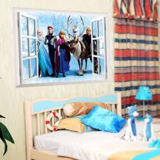 diy 3d cartoon queen elsa 3d window snow pvc removable wall desc desc