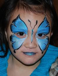 Blue Butterfly Face Body Art Painting