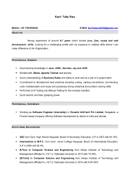 Sample Resume Objectives For Web Developer by Resume With 7 Months Internship Experiance In Java