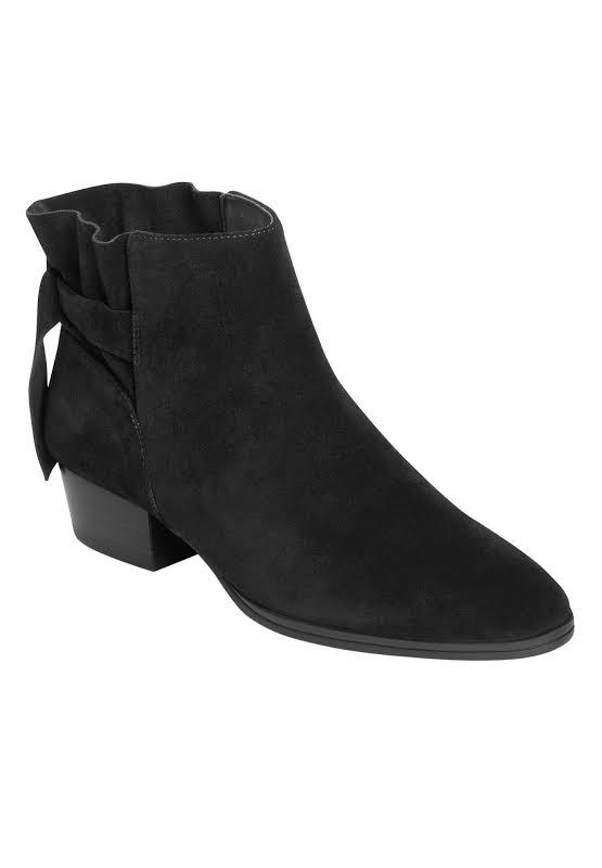Aerosoles Crosswalk Leather Almond Toe Ankle, Black Suede,