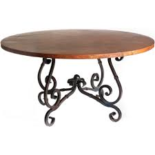 french iron dining table with 60 in round hammered copper top