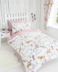 Girls Horse Bedding Set by Horse Show Pink Kids Girls Reversible Single Duvet Quilt Cover