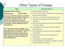 what are the five types of essays