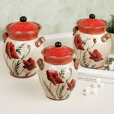 Country Canister Sets For Kitchen Poppies Kitchen Canister Set Kitchen Theme Ideas Pinterest