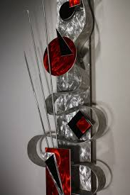 red art metal wall sculpture abstract home decor painting metal