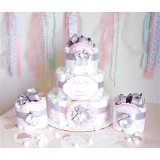 damask diaper cake package mini cake pink gray baby shower