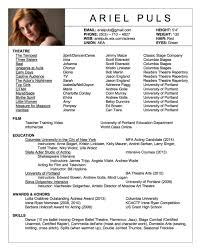 Sample Resume Format Usa by Theatre Acting Sample Resume 22 Resumes Samples Theater Cv Cover