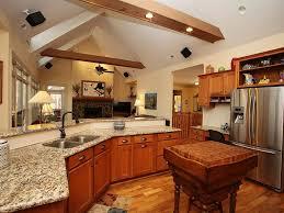 craftsman kitchen with built in bookshelf u0026 exposed beam zillow