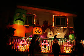 white terrace decorate house for halloween with small christmas