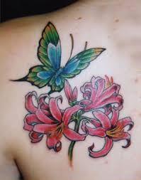 Japanese Flower And Butterfly Tattoo For Woman