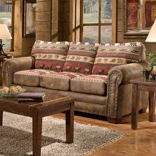 Lodge Living Room Decor by Living Room Loveseat Sleeper Sofa With Brown Wall Decor And Small