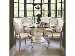 bernhardt campania 5 piece dining set with round glass table