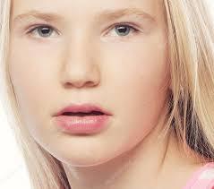beauty teen beautiful model face healthy long hair u2014 stock