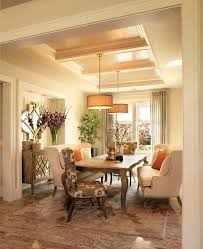 mirrored buffet dining room transitional with beige dining chair