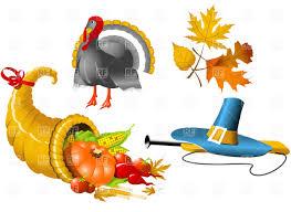 pilgrims on thanksgiving thanksgiving cornucopia and pilgrim u0027s hat vector image 4669