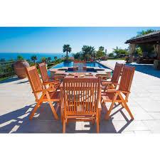 Martha Stewart 7 Piece Patio Dining Set - vifah balthazar eucalyptus 7 piece patio dining set with folding