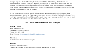 Resume For Call Center Jobs by Inbound Call Center Resume Format Writing Resume Sample