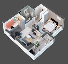 top down architectural diagram 40sqm apartment space savers