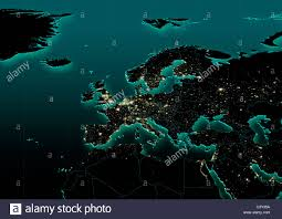 Western Europe Political Map by Map Western Europe Political City Lights Night Dark Green