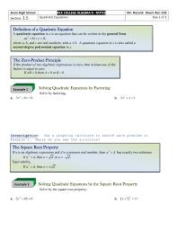 1 5 quadratic equations