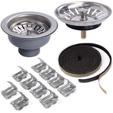 Double  Bowl Stainless Steel Kitchen Sink With Complete - Kitchen sink plumbing kit