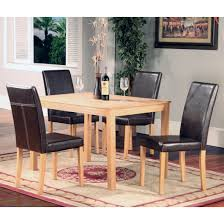 OAKDEN  PCS OAK DINING TABLE AND  X BLACK FAUX LEATHER HIGH BACK - Black dining table for 4