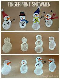 diy fingerprint snowman winter craft for kids snowman