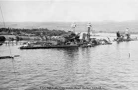 Pearl Harbor as seen a couple of days after the Japanese attack from the USS Salt Lake City under the command of Captain Zacharias   Papers of Ellis M      National Archives