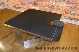 charcoal concrete coffee table polished steel frame clean cut dr30