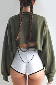 Plus Size Cropped Cardigan Sweater Ripped Khaki Green Torn Jumper Fall Fall