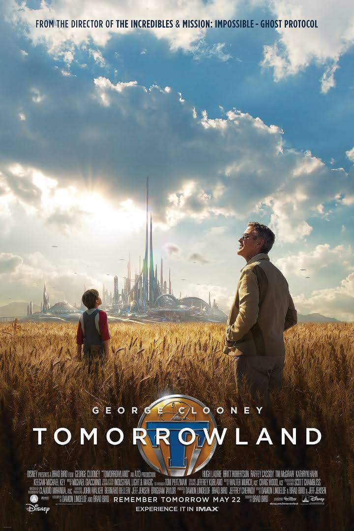 A man and a boy stand in a wheat field looking toward a glittering city skyscape