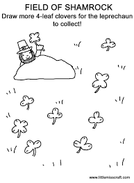 crafts field of shamrock doodle coloring page