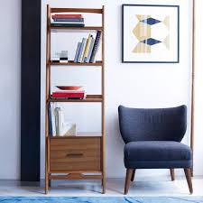 Low Narrow Bookcase by Mid Century Bookshelf Narrow Acorn West Elm Uk