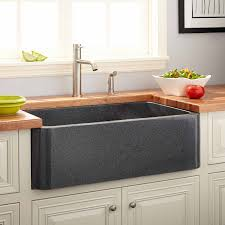 Polished Granite Farmhouse Sink Blue Gray Kitchen - Granite kitchen sinks pros and cons
