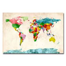 World Map Canvas by Michael Tompsett U0027watercolor World Map U0027 Canvas Art By Trademark