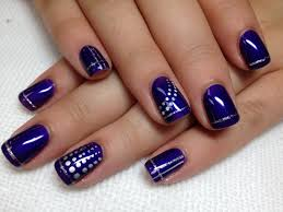 purple shellac w silver design nails by dusty myamore