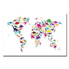 World Map Canvas by Amazon Com Trademark Fine Art Dinosaur World Map By Michael