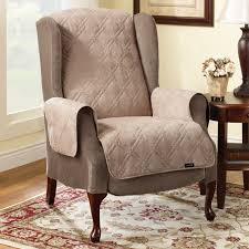 Floral Couches Furniture Wing Chair Using Quilt Slipcover Plus Brown Wooden