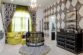 impressive lime green chair with circular crib baby bed artwork