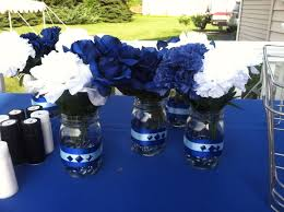 Black Blue And Silver Table Settings Graduation Table Centerpieces Graduation Centerpieces And Party