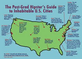 Map Of Portland Maine by A Witty Map Of Hipster Urban Habitats In The Lower 48 Hipsters