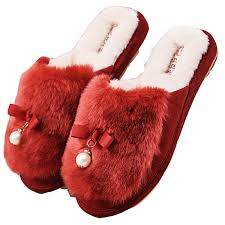 blubi womens pearl deco fur bedroom slippers cozy home slippers